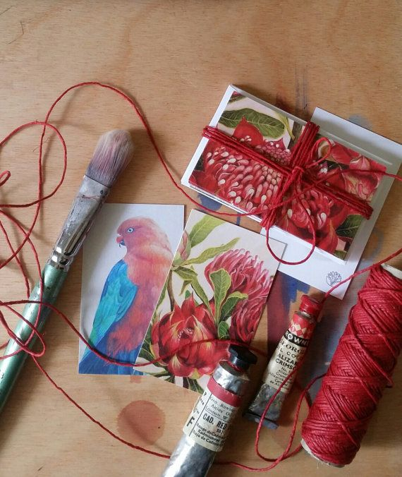 Waratah & King Parrot Christmas gift tags with eco hemp by Flosski