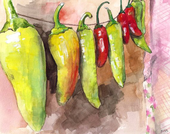 44 best Watercolor - Chili Peppers images on Pinterest | Chili ...
