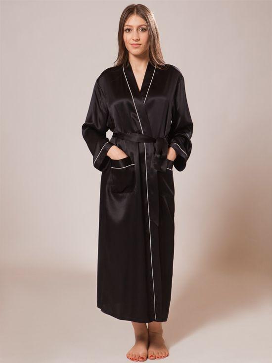Ladies Silk Bathrobe_Black/White #silk #bathrobe #long