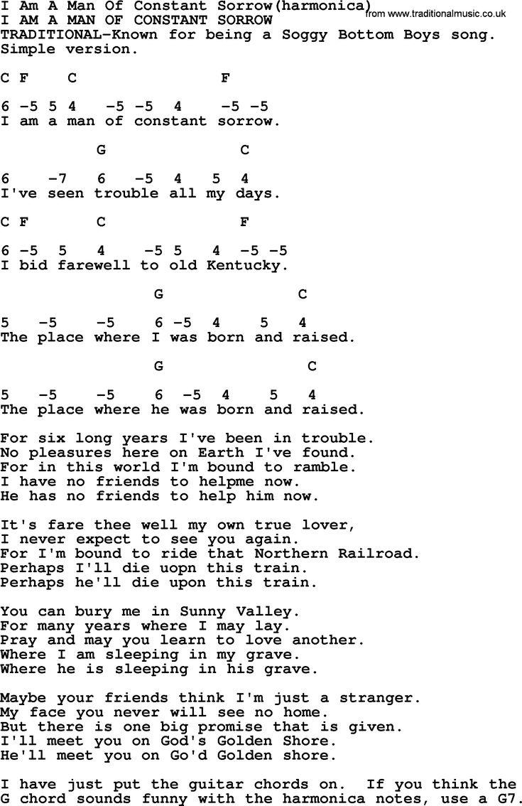 I Am A Man Of Constant SorrowHarmonica   Bluegrass lyrics with ...