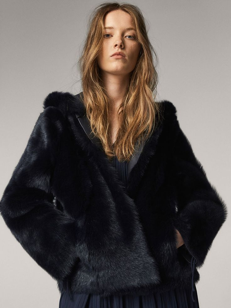 Spring summer 2017 Women´s REVERSIBLE FAUX FUR JACKET WITH HOOD at Massimo Dutti for 995. Effortless elegance!