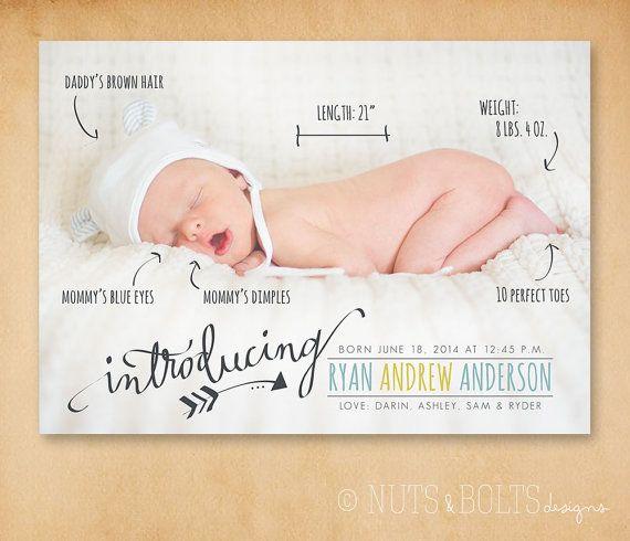 Baby Birth Announcement: Handwritten stats // von TheMombot auf Etsy
