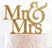 Gold Glitter Inlay Mr & Mrs Topper