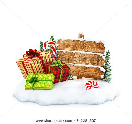 Christmas gift boxes, candies and empty wooden sign on snowdrift at white background. Unusual christmas illustration