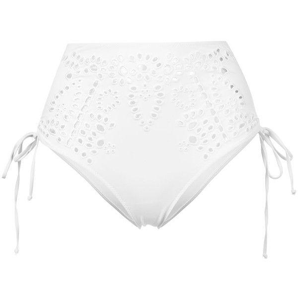 Ermanno Scervino lace high-waisted bikini bottoms ($415) ❤ liked on Polyvore featuring swimwear, bikinis, bikini bottoms, white, white lace bikini, lace two piece, high-waisted bikinis, high rise bikini and lace swimwear