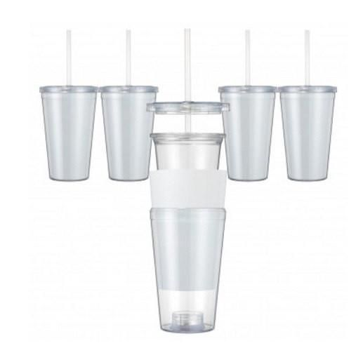 Set of 4 Clear Acrylic Tumblers With Paper Inserts - straws and lids included 16 Oz Double Wall Clear Tumblers With Paper InsertsEach tumbler includes a clear s
