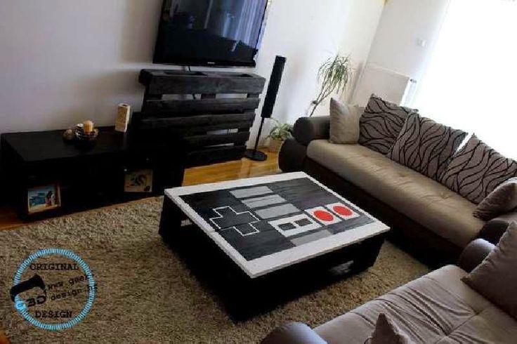 Muebles de palets una mesa de palets con forma de pad - Mesa de palets ...