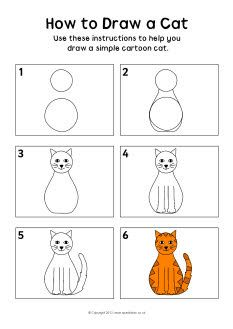 how to draw a cat instruction sheet - Simple Sketch For Kids