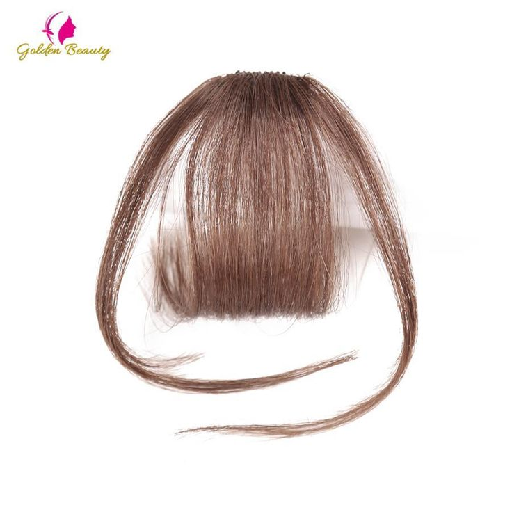 Neat Front False Fringe Thin Blunt Clip In Bangs Black/Brown Hairpiece With High Temperature