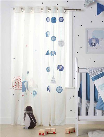 Beautiful Baumwoll Vorhang mit Elefant von Vertbaudet in wei Nur uac Versand Kinderzimmer jetzt bei Vertbaudet bestellen