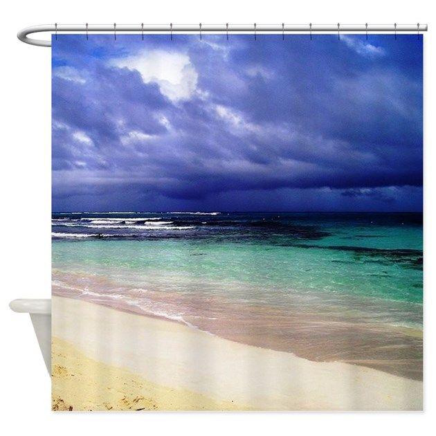blue water, ocean, sea, white sand, waves, beach - shower curtain
