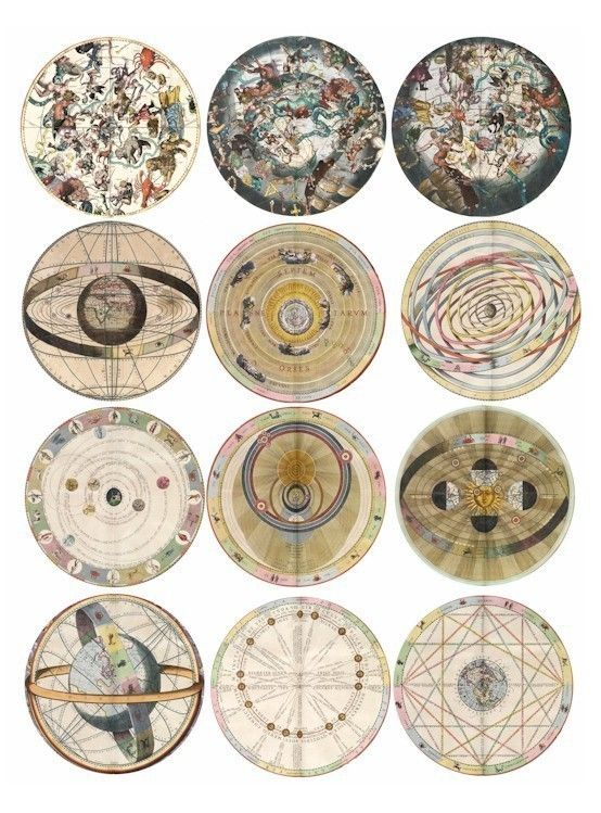 VINTAGE zodiac astrological charts digital download COLLAGE 2.6 inch circles