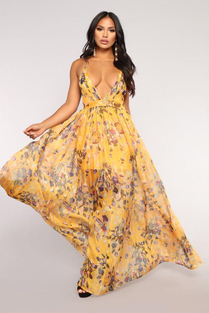 c172bd70a587 Floral Garden Maxi Dress - Mustard in 2019 | Fashion Nova | Dresses ...