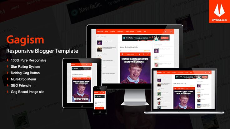 Responsive Blogger Template v5 Gagism is a blogger template based on Futuristic UI build for images gags websites with amazing CMS interface and rating system.