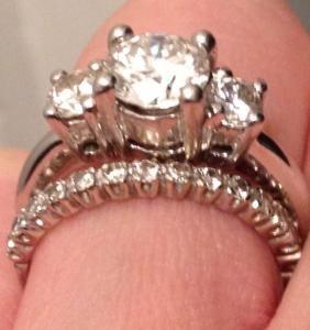 Classic 3 Stone Engagement Ring With 18k Eternity Wedding Band