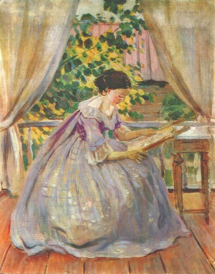The Embroideress ~ Borisov-Musatov, Viktor Elpidiforovich Borisov-Musatov (Russia, 1870-1905) ~ Tempera on canvas ~ one of the most masterful painters of his time, and who made an important contribution to the history of Russian painting. His female figures are some of the best of the Art Nouveau and Symbolist periods.