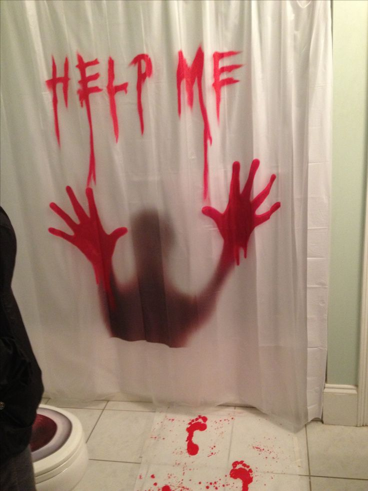 Scary halloween and bathroom on pinterest for Halloween bathroom ideas
