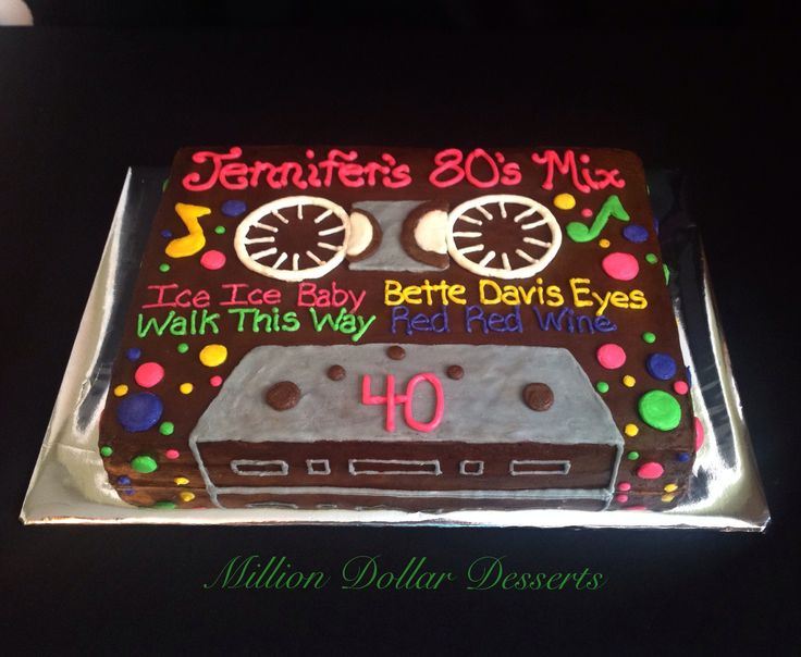 Happy 40th Birthday Cake /Cassette Tape Cake /80's by Million Dollar Desserts