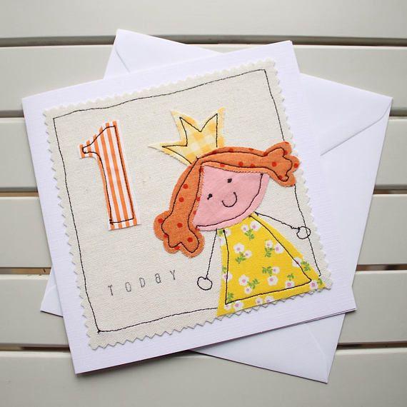 1st Birthday Card Handmade Machine Embroidered Princess