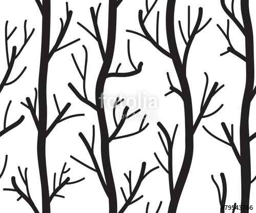 Wektor: Seamless black and white background with trees