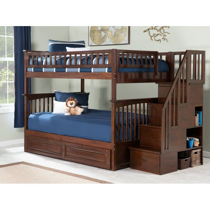 Selig Staircase Full Over Full Bunk Bed With Shelves Bunk Bed With Trundle Bunk Beds With Drawers Bunk Beds With Storage