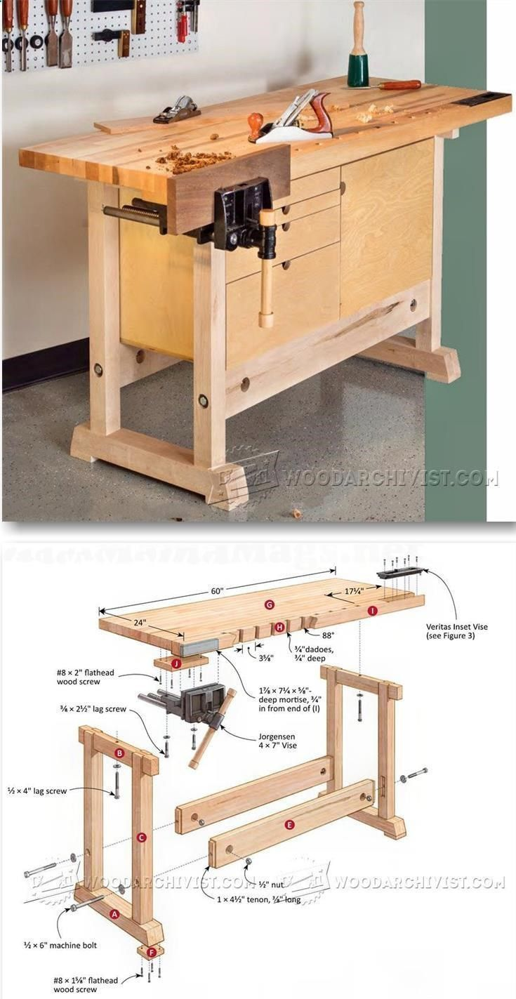 Compact Workbench Plans - Woodworking Plans and Projects | WoodArchivist.com #WoodworkingBench #woodworkingplans