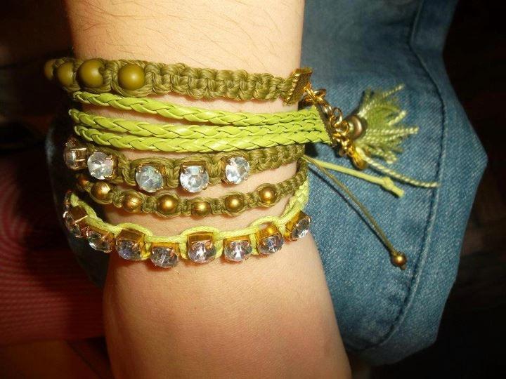 MIx Pulseras  #strass #fashion #accessories #jewelry #mode #look #fashionaccessories #luxjewelry #bracelets #shamballa #gold #style #green