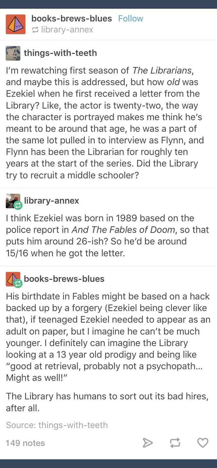 Tumblr; The Librarians; Ezekiel Jones