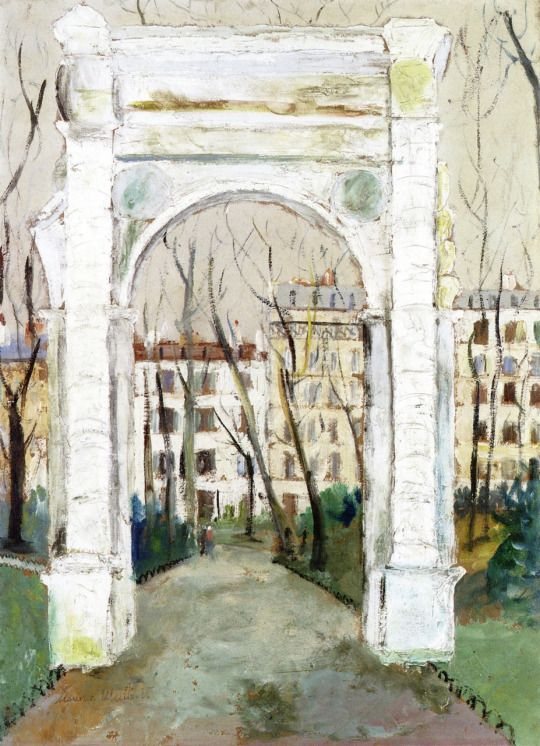 The Arc du Parc Monceau Maurice Utrillo - 1916 Private collection Painting - oil on board Height: 71.7 cm (28.23 in.), Width: 54 cm (21.26 in.)