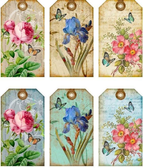 12 Hang Gift Tags Cottage Chic Floral Images 793 A | eBay: