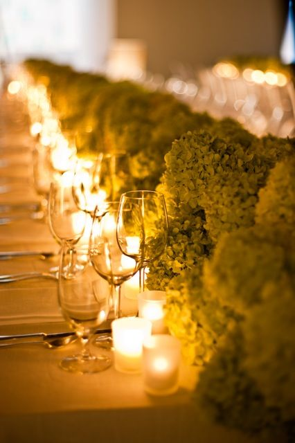 hydrangea hedge for long table centerpieces