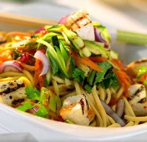 Warm Asian Style Noodle Salad recipe made using a health grills: Ingredients  60g buckwheat or soba noodles, cooked & drained 250g of pre-cooked tofu, drained & cut into cubes 1garlic clove, crushed 1red chilli finely chopped 2tbsp reduced sodium soya sauce 1tsp sweet chilli dipping sauce 1tsp sesame oil Juice of 1/2 lime 1 carrot, peeled & grated into long strips 1 head of pak choi, shredded 1/2 courgette cut into long strips 1/2 red onion cut into strips Small handful of fresh coriander…