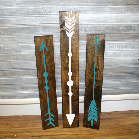 Reclaimed Wood Arrow Sigs - Set of 3 - Wall Decor, Arrow Design, Wood Home Decor, Gift for Her, Aztec Bedroom, Wood Tribal Sign