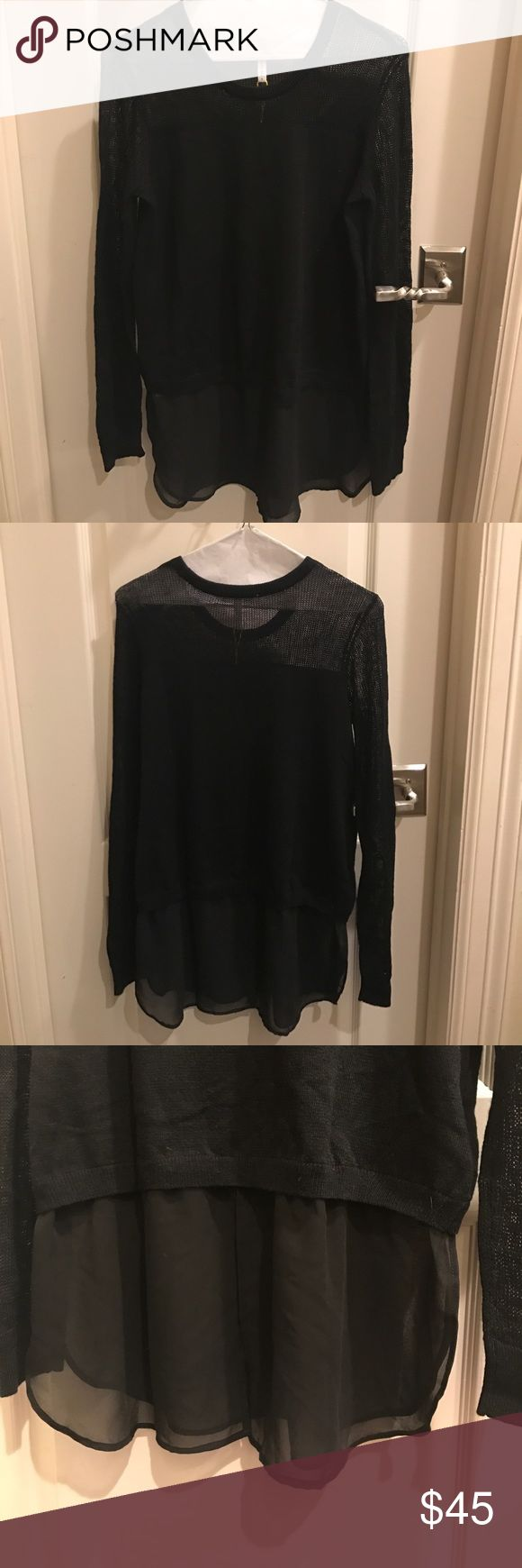 BCBG Black Sweater Size small. NWT. Sheer bottom. Super cute & edgy😊 BCBGeneration Tops Blouses