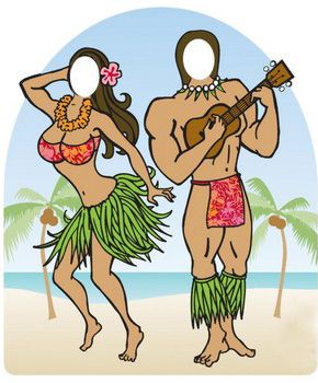 Life-Size Luau Photo Stand this would be fun for adults and kids :) You can get it blown up at Staples