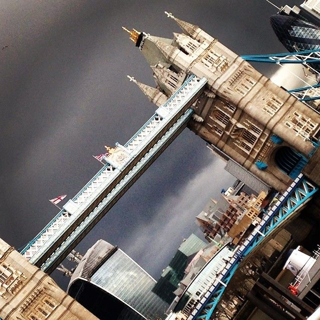 Dark skies over The City of London today #towerbridge #gherkin #drama #ithinkitwillrain #thesilkvault.com