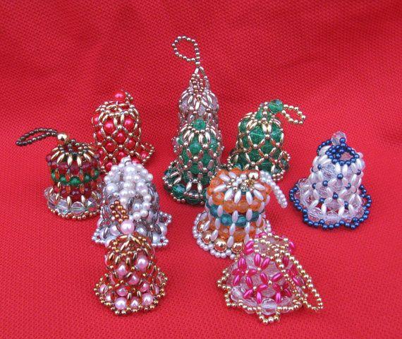 Vintage beaded bells christmas tree ornaments set of