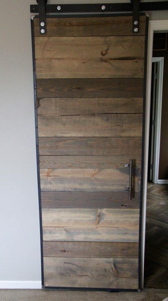 Barn Door With Industrial Metal Frame Etsy Barn Door Diy Sliding Barn Door Wood Barn Door