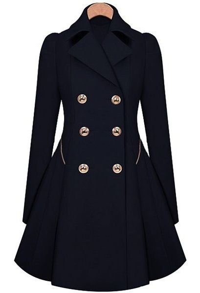 Elegant Turn-Down Collar Double Breasted Long Sleeve Trench Coat For Women