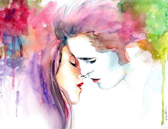 Twilight Bella and Edward Kiss - Watercolor painting. $20.00, via Etsy.