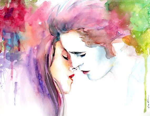 Edward y Bella Crepúsculo besan imprimir acuarela