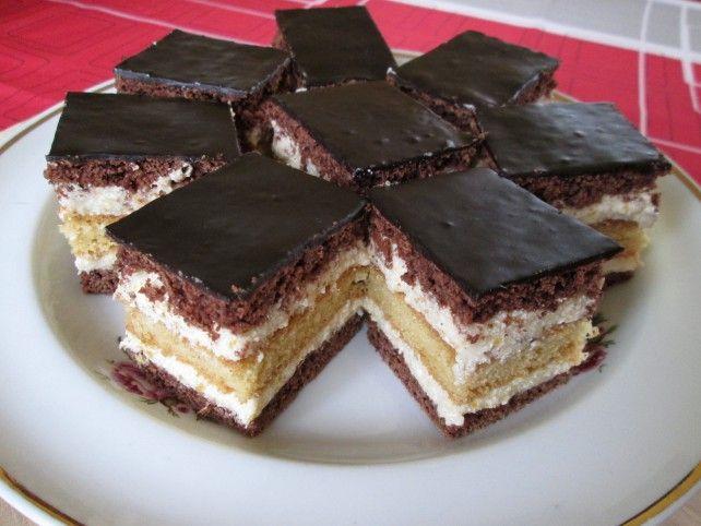 Krémes kakaós süti kétféle piskótával (Horizont szelet) Recept képpel - Mindmegette.hu - Receptek