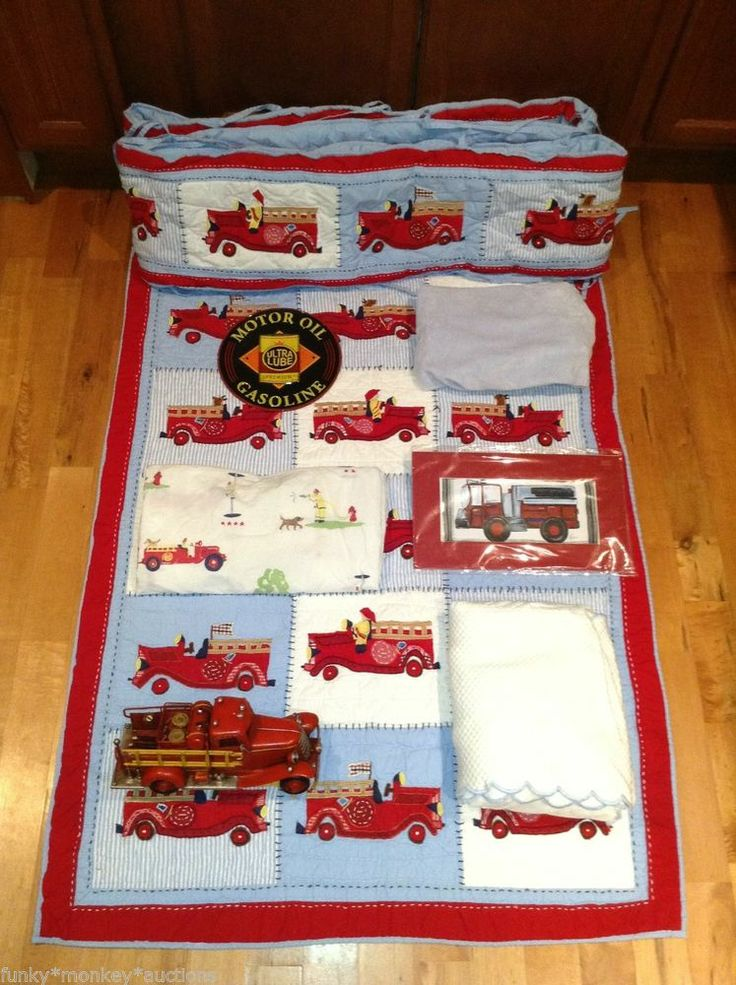Pottery Barn Kid Fire Truck Nursery Crib Bedding Set Quilt