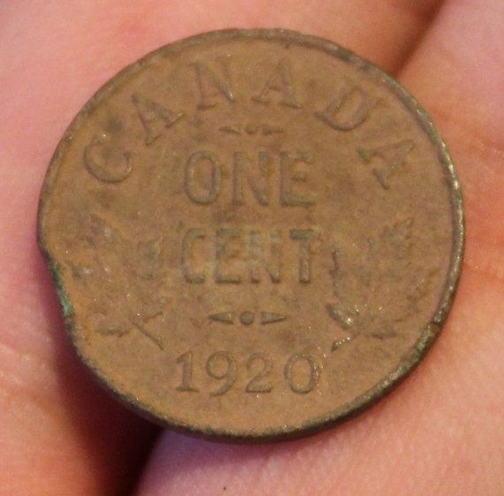 Circulated 1920 Canadian One Cent With by VariedTreasureFinds