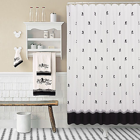 Vintage black and white mickey mouse shower curtain home for Black white bathroom set