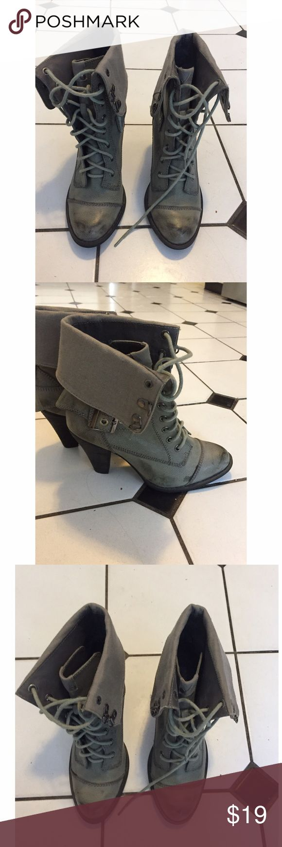 Not Rated grey lace up booties with heel size 7.5 Not Rated grey lace up booties size 7.5 Not Rated Shoes Ankle Boots & Booties