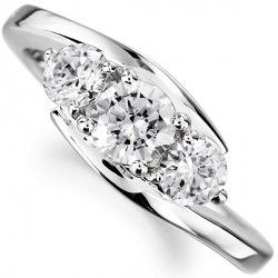 R3D018 - Three Stone Round Cross Over Diamond Ring. Three stone graduated diamond engagement ring with cross-over design