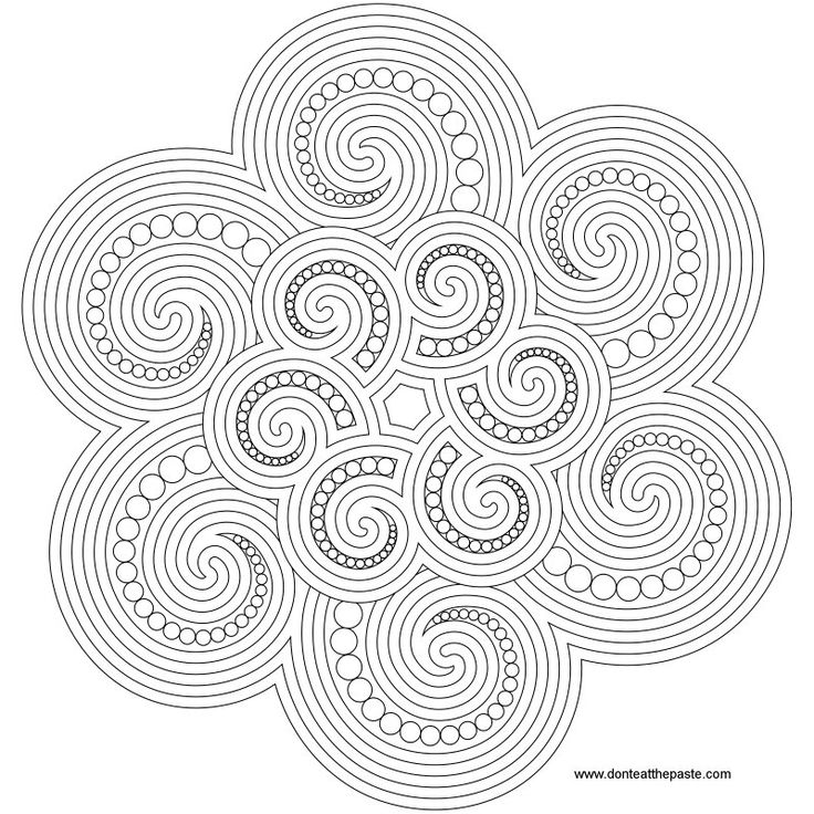 spiraled and dotted mandala to color- also available in transparent PNG in a larger size. #crafts #coloring #embroidery