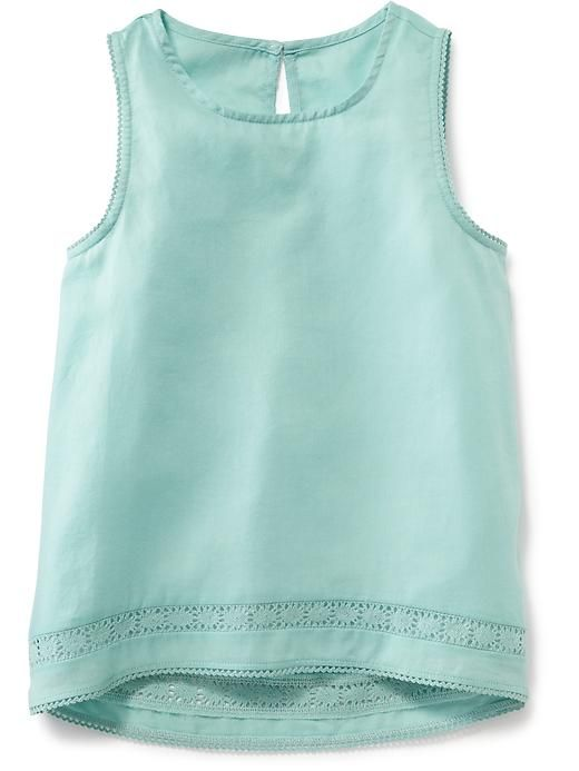 Sleeveless Hi-Lo Crepe Tank for Girls
