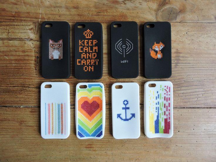 Ma collection de coques d'iphone brodées aux points de croix